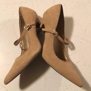Ann Taylor Shoes - Ann Taylor Loft MJ tan suede sz 8.5 heels